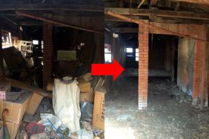 神埼郡で小屋内の不用品回収写真